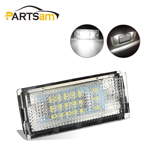 Led 4d 3 Series (Partsam 6000K White LED License Plate Lights Lamps Assembly Set for BMW 3 Series E46 4D 325i 330i (Pack of 2pcs))