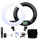 Yidoblo 18 inch LED Ring Light FE-480II Dimmable Lighting Kit with Phone Holder,Mirror,Tripod Stand,Remote Control and Carrying Case for Makeup, YouTube Vine Videos, Selfies, Portrait,Photos Black