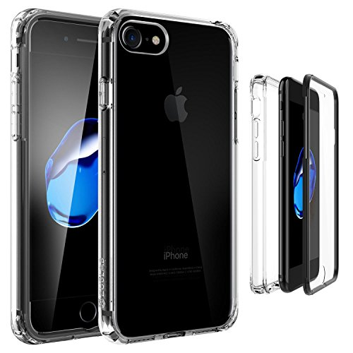 iPhone 8/iPhone 7 Case, ZUSLAB Compact Built-in HD Clear Screen Protector Full-Body Hybrid Protective Cover Crystal PC Back, Impact Resistant Bumper for Apple iPhone 8/iPhone 7 (Clear/Black)