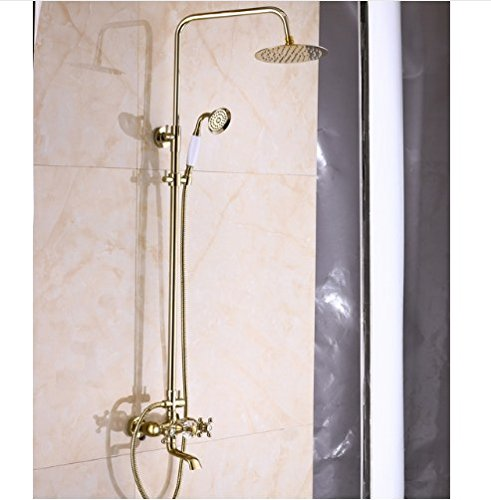 Gowe Exposed Rain Shower Set Faucet Bath Crystal Style Tub Gold Finish Mixer Tap 0