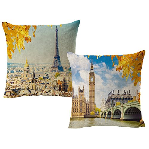 VAKADO Paris Eiffel Tower & Big Ben Throw Pillow Covers Autumn Fall Leaves City Scene Scenery Cushion Cases Outdoor Decorative Home Decor for Couch Sofa Bedroom 18x18 Inch Set of 2