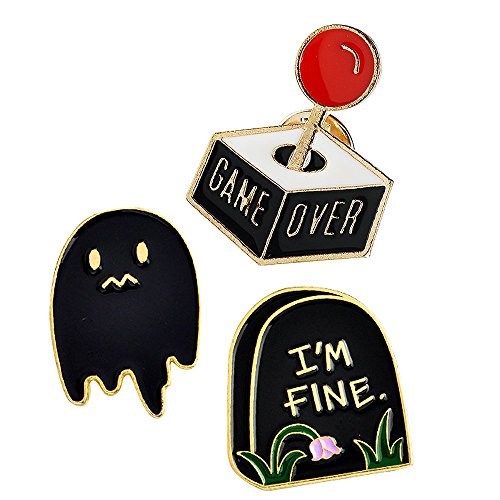 MP44 New Cute Ghost Tombstone Big Button Brooches Pins in Velvet Bag 3pcs/set (3 Stone Brooch)