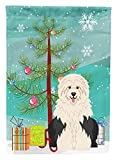 Caroline's Treasures BB4221CHF Merry Christmas Tree Old English Sheepdog Canvas House Flag, Large, Multicolor For Sale