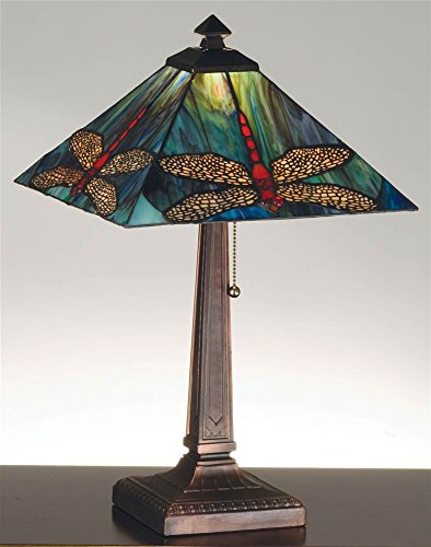 21.5 Inch H Prairie Dragonfly Table Lamp Table Lamps (Stained Chandelier Prairie Glass)