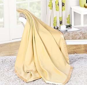 100% Mulberry Silk Blanket Silk Throw (King, Yellow)