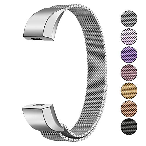 Mosonoi Compatiable with Fitbit Alta Bands, Adjustable Metal Bands Replacement Straps Fit for Fitbit Alta/Alta HR Smartwatch Women Men(Small, Silver)