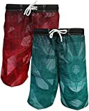 Quad Seven Boys Printed Swim Trunks (2 Pack), Triangles, Size 3T'