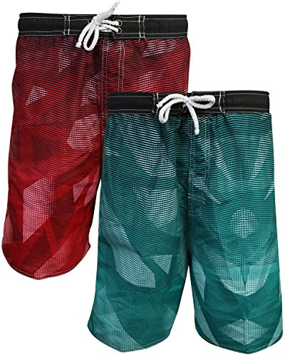 Quad Seven Boys Printed Swim Trunks (2 Pack), Triangles, Size 3T' by Quad Seven