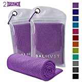 Balhvit 2 Pack Cooling Towel, Ice Towel, Microfiber Towel for Instant Cooling Relief, Cool Cold Towel for Yoga Beach Golf Travel Gym Sports Swimming Camping (Light Purple, 47x14inch)