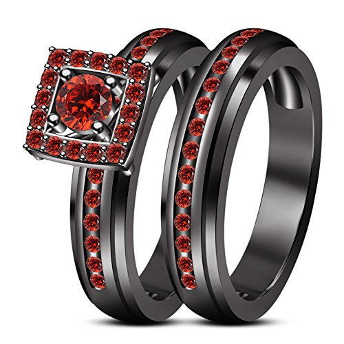 VORRA FASHION BLACK RHODIUM ROUND RED GARNET SOLITAIRE ENGAGEMENT WEDDING RING SET .925 (8.5) from TVS-JEWELS