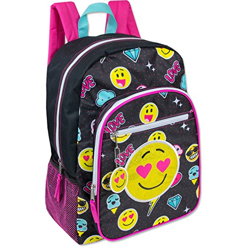Emoji Embellished Triple Pocket 17 Girls Backpack – Kids