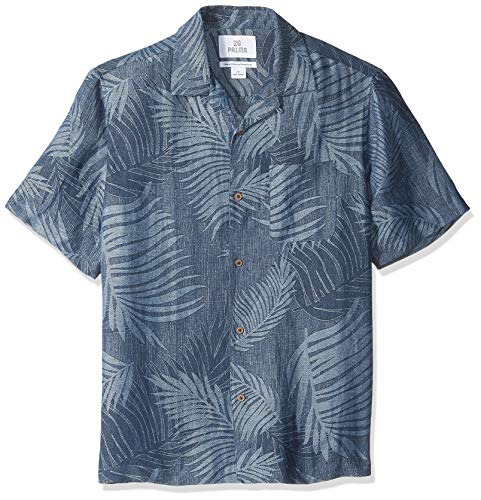 28 Palms Men's Relaxed-Fit Silk/Linen Tropical Leaves Jacquard Shirt, Navy, X-Small