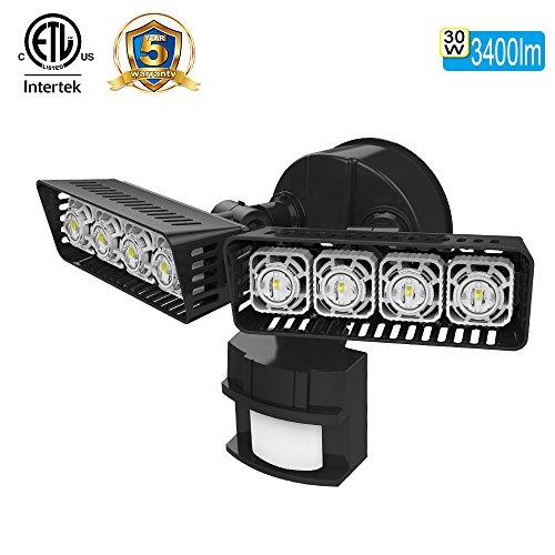 SANSI LED Security Motion Sensor Outdoor Lights, 30W (250W Incandescent Equivalent) 3400lm, 5000K Daylight, Waterproof ETL-listed Floodlights, Black