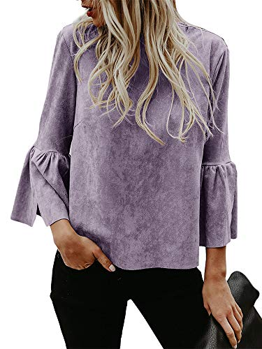 - Kathemoi Womens Halloween Bell Sleeve Sweater Suede Top Crew Neck Casual Pullovers