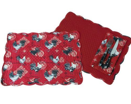 Print Placemat Set (La Provence Red Black & White Roosters Kitchen Print Placemats Set of)