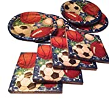 Sports Party and Tailgating Pack Paper Plates and Napkin set - Football, Soccer,Baseball, Basket Ball Total 8 Items