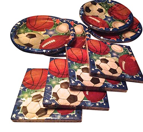 Sports Party and Tailgating Pack Paper Plates and Napkin set - Football, Soccer,Baseball, Basket Ball Total 8 Items by Greenbriar International