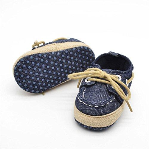 Voberry® Newborn Baby Boys' Premium Soft Sole Infant Prewalker Toddler Sneaker Shoes (0~6 Month, Dark Blue) - Image 2