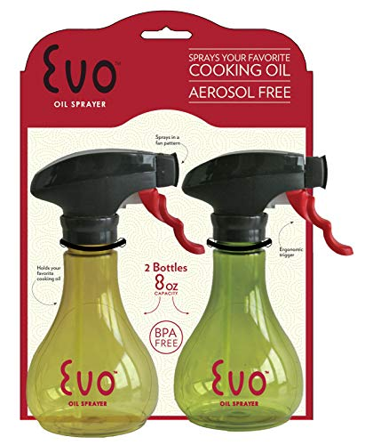 Evo Oil Sprayer Bottle, Non-Aerosol for Olive Oil and Cooking Oils, 8-ounce Capacity, Set of 2 (Weight Sprayer Oil Watchers)