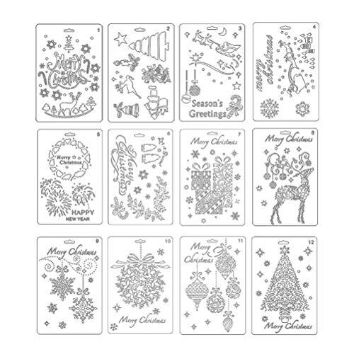 NUOLUX 描画テンプレート クリスマス ステンシルシート 描画ツール 定規 テンプレート DIYアルバム 手帳飾り 12枚セット