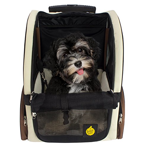 "FrontPet Airline Approved Rolling Pet Travel Carrier with Wheels and Backpack Straps, 12"" W x 14.5"" L x 19.5"" H, Air Travel Pet Carrier, Airport Pet Carrier"