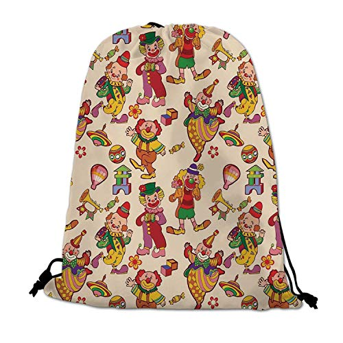 Circus Decor Lightweight Drawstring Bag,Cartoon Circus Patterns Comedian Musical Toy Pleasure Hot Air Balloon for Travel Shopping,One_Size
