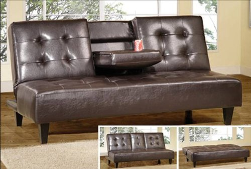 Hodedah Sofa Bed with Cup holders, Brown