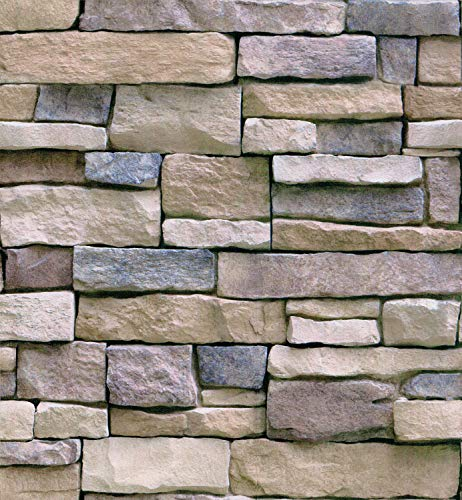 HaokHome 61007 Faux Stacked Stone Wallpaper Peel Stick Wall Decor 17.7