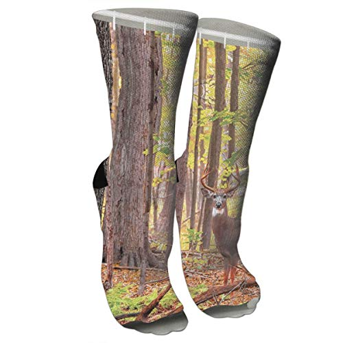 Deer Shower Curtain Whitetail Antlers Natural Forest Fashion Stylish Knee High Socks for Women and Men-Fitness Novelty Crew Athletic Socks Comfortable Knee High Sock -