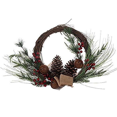 Moonvvin 19 Inch Pine Artificial Christmas Wreath, Garland with Bowknot, Bells, Pinecones, Red Berries, Flower Gifts for Christmas Party Decor, Front Door Wreath