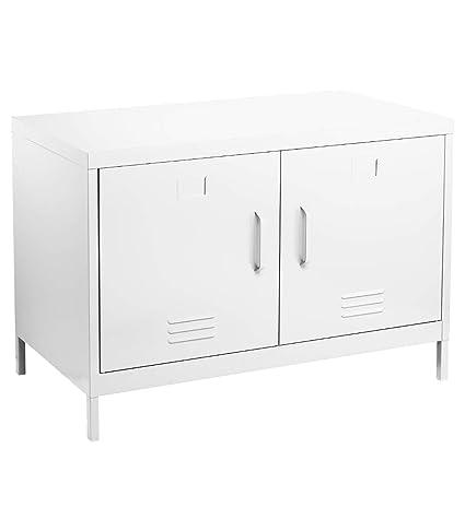 Atmosphera Meuble Console Buffet Bas De Rangement 2 Portes Esprit Industriel Atelier Loft Coloris Blanc