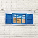 Chaneyhouse Spain,Hair Towel,Sand View from Window of Spain Beach Distant Hill Plants Sand Touristic Print,Quick-Dry Towels,Blue Sand Brown Size: W 8'' x L 23.5''