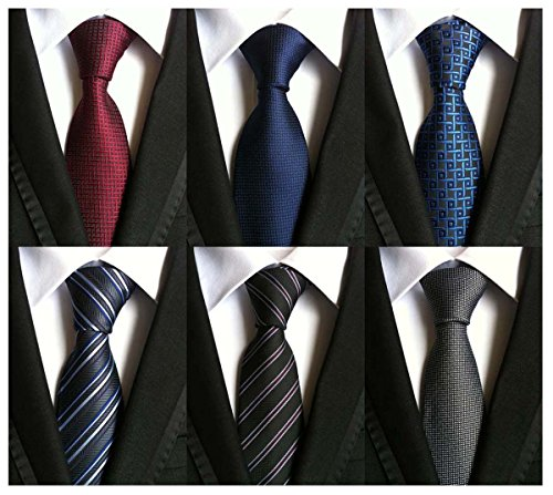 WeiShang-Lot-6-PCS-4-inch-Classic-Mens-Wide-Tie-Necktie-Woven-JACQUARD-Neck-Ties