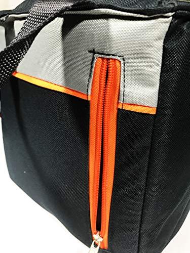 LARGE NAVY W/ORANGE STRIPE MULTIPURPOSE COOLER BAG WITH ADJUSTABLE STRAP FOR DRINKS & FOOD BY C