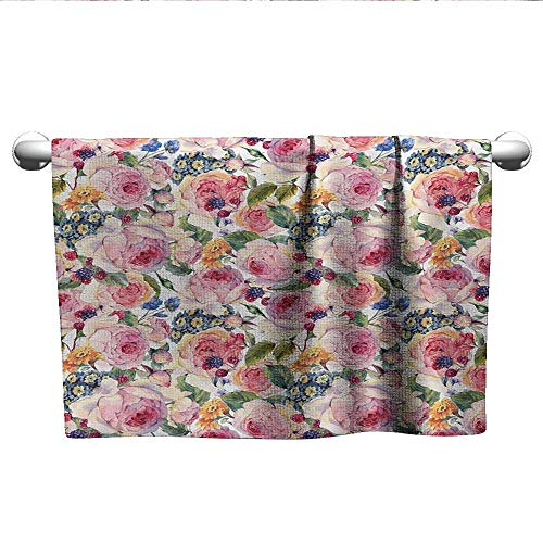 - alisoso Shabby Chic,Kids Swimming Towels Country Life Design with Flowers Florals Roses Orchids Buds Romantic Print Microfiber Towels for Body Multicolor W 28