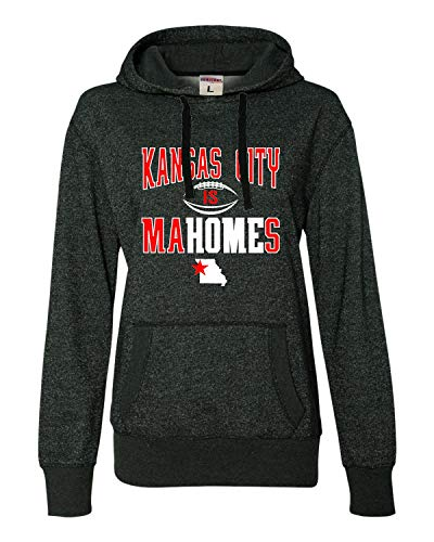 (Go All Out Large Black/Silver Womens Kansas City is Mahomes Glitter Hoodie)