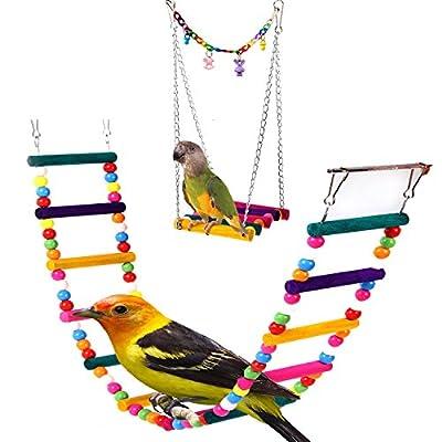 AnnaEye Pet Bird Parrot Parakeet Budgie Cockatiel Cage Hammock Swing Toy Hanging Toy Swings,Ladders Pet Trainning by Annaeye