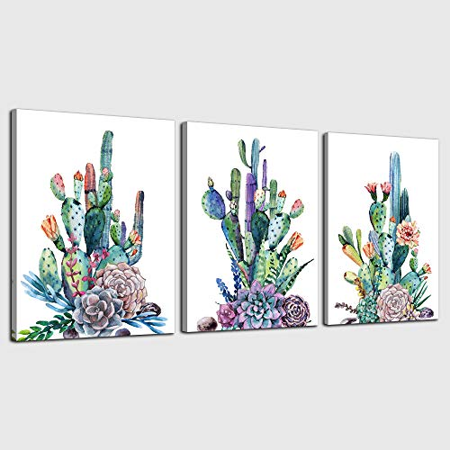 Canvas Art Simple Life Green Cactus Desert Plant Painting Wall Art Decor 12