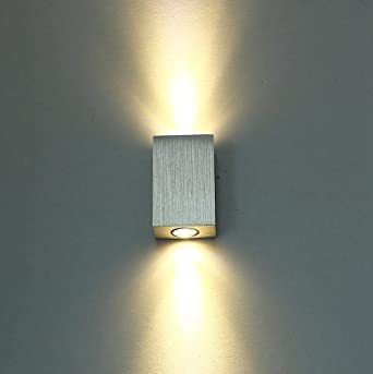 Lightess 6w Led Wall Light Indoor Modern Up And Down Wall Lights Aluminum Small Cube Wall Lamp For Bedroom Living Room Corridor Warm White Amazon Co Uk Lighting