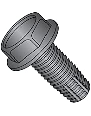 """Steel Thread Cutting Screw, Black Oxide Finish, Hex Washer Head, Type F, 5/16""""-18 Thread Size, 1/2"""" Length (Pack of 25)"""