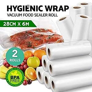 Vacuum Food Sealer Roll Bags Saver Seal Storage Heat 6m x 28cm (2 Pack)