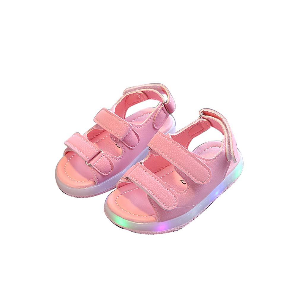 edv0d2v266 LED Kids Boys Girls Shoes Casual Light up Luminous Baby Sport Sneakers(Pink 22/5.5MUSToddler)