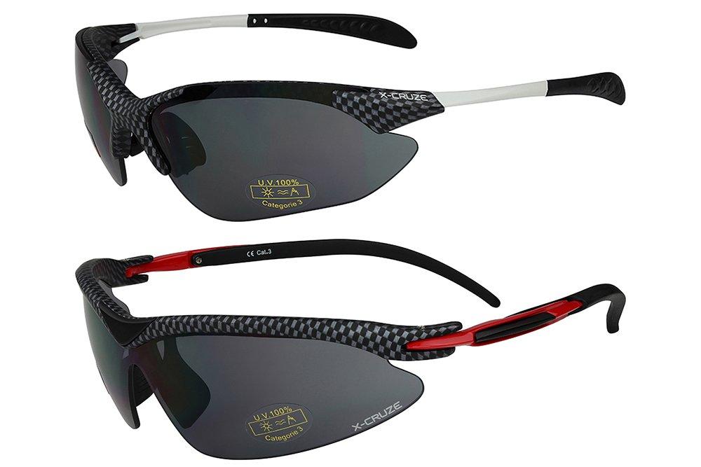 X-CRUZE 2er Pack X03 Sonnenbrillen Sportbrille Radbrille Fahrradbrille - 1x Modell 1 (weiß) und 1x Modell 1 (weiß) lwWaSkDtW