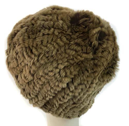 (surell Rex Rabbit Fur Knit Hat Black - Rabbit Fur Slouch Style Hat - Warm Winter Fashion - Perfect Elegant Luxury Gift (Brown))
