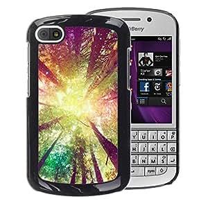 A-type Arte & diseño plástico duro Fundas Cover Cubre Hard Case Cover para BlackBerry Q10 (Forest Trees Sun Yellow Ray Summer)