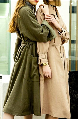 Gocgt Womens Lapel Open Front Wrap Belted Casual Long Trench Coat Army Green M by Gocgt (Image #2)