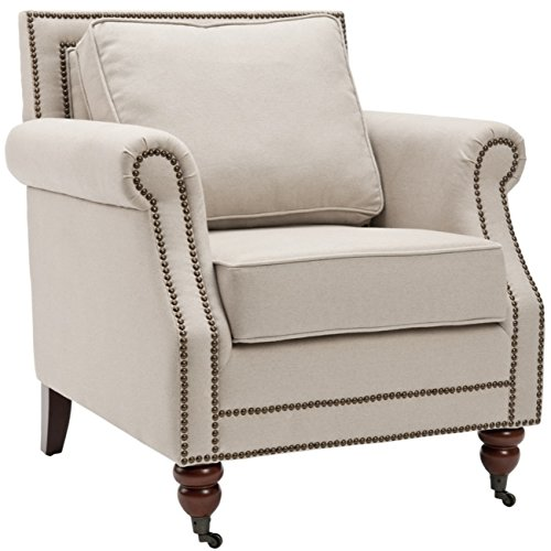 Safavieh Mercer Collection Ellen Linen Club Chair, Light Grey (English Club Leather Chair)