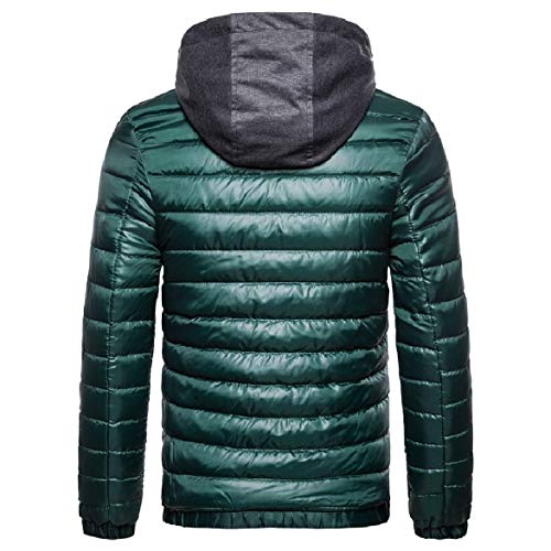 Howme Zip Men Hoodie Green Solid Blackish Comfort Coat Cotton Thicken Duffle rwrHq1xEp