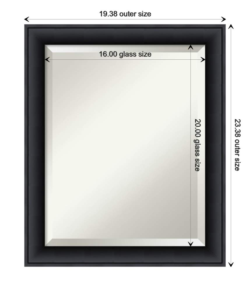 Framed Vanity Mirror   Bathroom Mirrors for Wall   Nero Black Mirror Frame   Solid Wood Mirror   Small Mirror   23.38 x 19.38 by Amanti Art