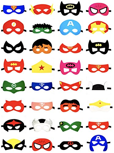 Superhero Party Masks for Kids 32 pc by Hero2Be Birthday Supplies Boys & Girls Costume Accessories (Party Supplies And Costumes)